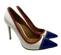 RALPH LAUREN PURPLE LABEL WHITE AND BLUE LEATHER PUMPS, 39.5, $895