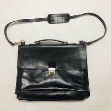 Vintage Old Angler Messenger Laptop Briefcase Black Leather Bag Attaché Italy