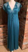 VTG LOVELY DAFFODIL Long Nightgown Teal Green Blue NIGHTGOWN Medium