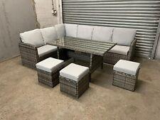More details for rattan corner group garden furniture set outdoor dining sofa set table & bench
