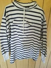 Dockers - Levi'S Pullover Size Large 100% Cotton Color White/Blue Striped Warm!