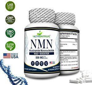 NMN Βeta-Nicotinamide Mononucleotide 500mg/ Serve - 60 Capsules. Free Shipping