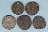 France 1380-1610, Charles VI-Henry IV.  Blanc Guenar, Blanc Ecu x 2, 1/4 Ecu x2