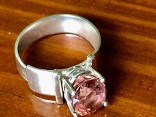 Spessartite Garnet or Zircon Sterling Silver Ring Artisan Made Adjustable Womens