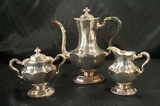 Meriden B Company Silver Plated Lovely Beaded Tea/Coffee Pot, Cream & Sugar