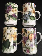 P.S. Bone China Floral Garden Mugs England Set Of (4)