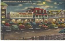 1930s Spiller's Take Out Restaurant York Beach Maine Night View from Playground