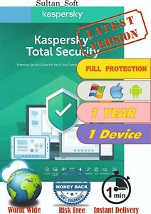 Antivirus Kaspersky Total Security -1PC/1Yr - 2021 - Global Key - Email Delivery