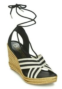 Marc Jacobs Dani Women's Espadrille Wedge Sandals Black White Size 39.5 / US 9.5