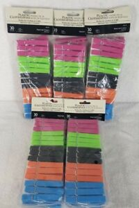 5 Pack-Plastic Clothespins Assorted Colors, 30 pcs each pack Clothes or Crafts