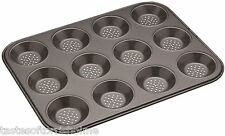 Masterclass Perforated Crusty Bake Non Stick 12 Hole Pastry Tartlet Baking Tray