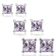 925 Silver 2ct Amethyst 3, 4 & 5mm Square Stud Earrings Set of 3