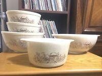 Vtg Pyrex Forest Fancies Mushrooms  Mixing Bowls #473b, 443, 402 (2x), 403 Lot