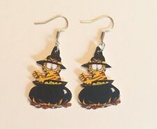 Garfield The Cat Halloween Holiday Earrings Handmade Plastic Charms Witch Odie