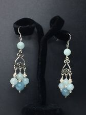 Genuine Crystal Earring - Aquamarine Crystal Beads With .925 SS  Chandelier