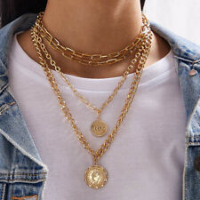 Gold Chunky Link Cuban Curb Layered Chain Coin Pendant Necklace Set Zara Mayb?