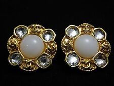 GORGEOUS!!! US SELLER!!! Authentic CHANEL RHINESTONE FAUX PEARL EARRINGS 95A