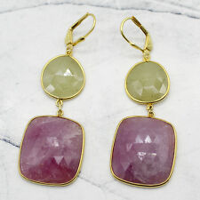 18 KT Yellow Gold Plated Natural Yellow Sapphire & Ruby Dangling Fine Earrings