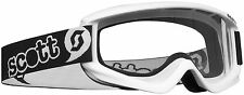 Scott Agent Goggles White Pee Wee Ages 3-6 Youth Kids Childs Dirt Bike ATV MX