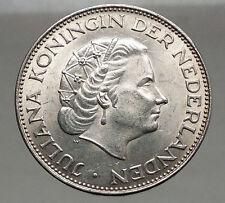 1962 Netherlands Kingdom Queen JULIANA 2½ Gulden Authentic Silver Coin i56604