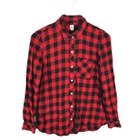 GAP Womens Flannel Shirt Button Down Top Size M Red Black Buffalo Plaid Check