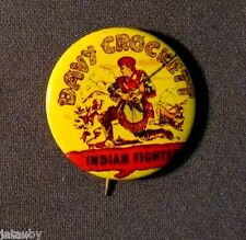 DAVEY CROCKET INIDAN FIGHTER VINTAGE PIN PINBACK BUTTON Rifle Covered Wagon
