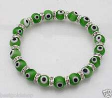 Good Luck Swarovski Crystal Green Evil Eye Stretch Bracelet ONE SIZE FITS ALL