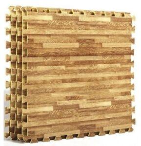 WOOD EFFECT 6 Pc Interlocking EVA  Floor Mats 60CMX60CM 10MM THICK NON SLIP