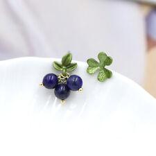 Boucles d'oreilles CLIP ON Doré Feuille Vert Perle Lapis Lazuli Bleu Retro J15