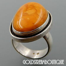 VINTAGE POLAND STERLING SILVER BUTTERSCOTCH BALTIC AMBER SOLID RING SIZE 9.5
