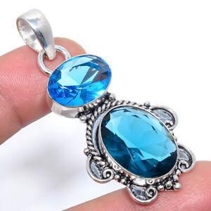 "Madagascar Blue Sapphire & Blue Topaz Ethnic Handmade Pendant 2.2"" S1974"