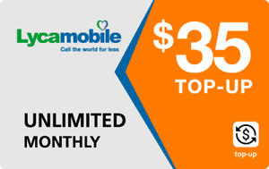 Lyca Mobile  Prepaid $35 Refill Top-Up Prepaid Card ,PIN / RECHARGE