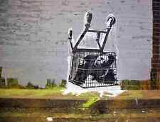 Banksy Trapped In Trolley A4 Sign Aluminium Metal
