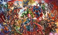 DC And Marvel Comics - Superheroes Cartoon Wall Art Framed Canvas Pictures