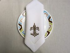 22 Fleur De Lis Bronze Embroidered Hemstitch White Linen Cloth Napkin Set Of 4
