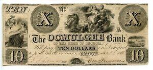 1838 $10   Mocan Georgia. Ocmulgee Bank  1836-circa 1842