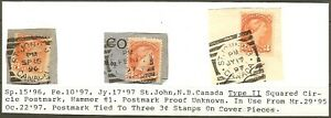 Canada 1897 Victoria Small Queens, Squared Circle cancels - Sc #41 -dw7.12