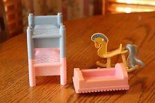 Vintage Playskool Victorian Kids Bunk Beds Baby Cradle Rocking Horse