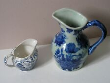 2 JUGS. FLOW BLUE,VICTORIA WARE + An  OLDE COUNTRY CASTLES & BRITISH ANCHOR MILK