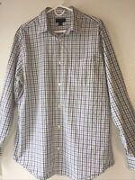 Banana Republic Mens XL 17-17.5 Slim Fit Button Up Shirt White/Blue/Green Plaid