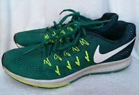 Nike Men's Green Air Zoom Pegasus 33 Running Trainers Size 7.5 Used Condition