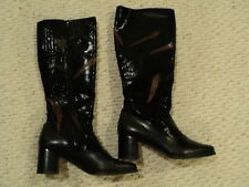NEW Ros Hommerson Knee High Black Leather Feather Fashion Shining Boots Size 8