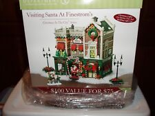 Dept 56 Christmas In The City Visiting Santa At Finestrom'S Nib *Read*