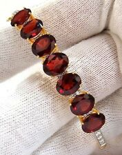 $6000 16.75ct NATURAL RED GARNET DIAMONDS BANGLE BRACELET 14KT