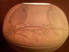 XL BIG Porzellan Windlicht Weiß Lithophanie Beeren Winter Vogel Natur Tiere