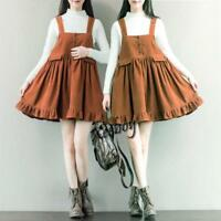 Womens Retro Sweet Lolita Loose Corduroy Suspender Overalls Mini Dress Skirts