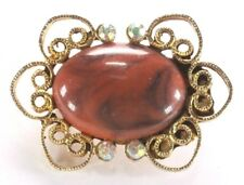Brooch Pin - Oval Flower Orange Acrylic Stone Ab Rhinestones Filigree Gold Tone