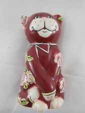 "Vintage 4"" Cat flat back Vase by GanzBella Casa Mint with tag"