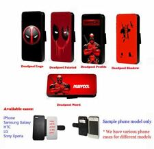 Deadpool Inspired phone case faux leather wallet flip case for Huawei Samsung