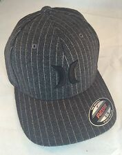 NEW Hurley One & Only Pinstripe Gray Men's Black Suits Flex Fit Hat Small Medium
